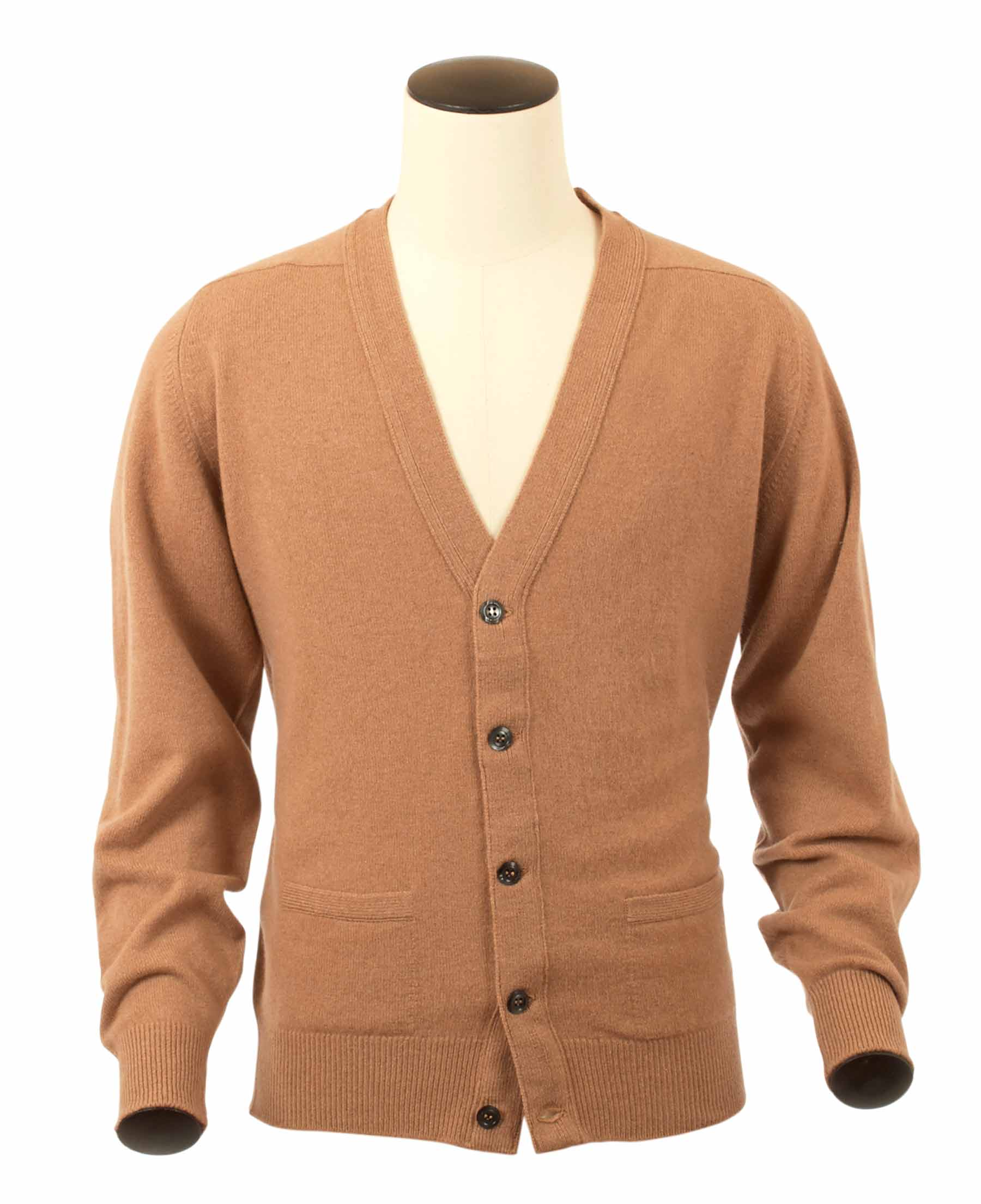 Bart, Couleur Camel, Gilet col V en 100% lambswool - Vêtements laine geelong