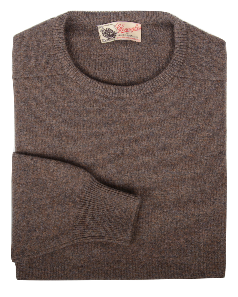 Logan, Couleur Bark, Pull Ras de cou en 100% lambswool - Vêtements laine geelong