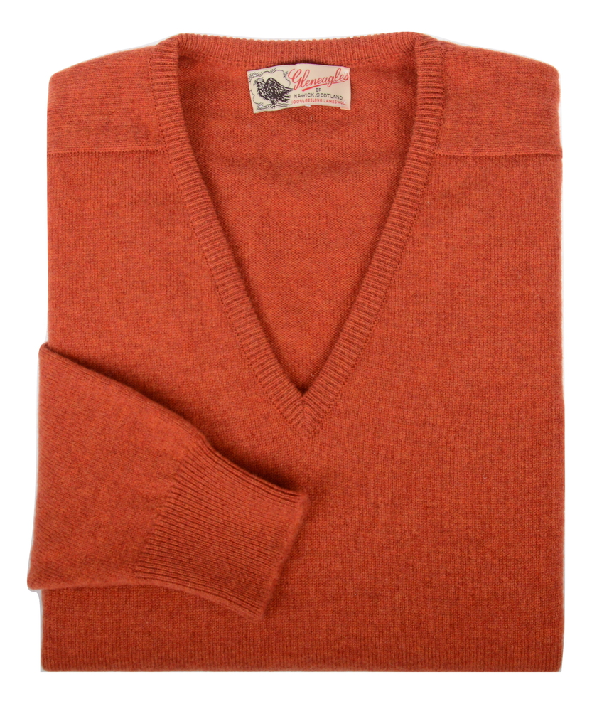 Scott, Couleur Ember, Pull col V en 100% lambswool - Vêtements laine geelong