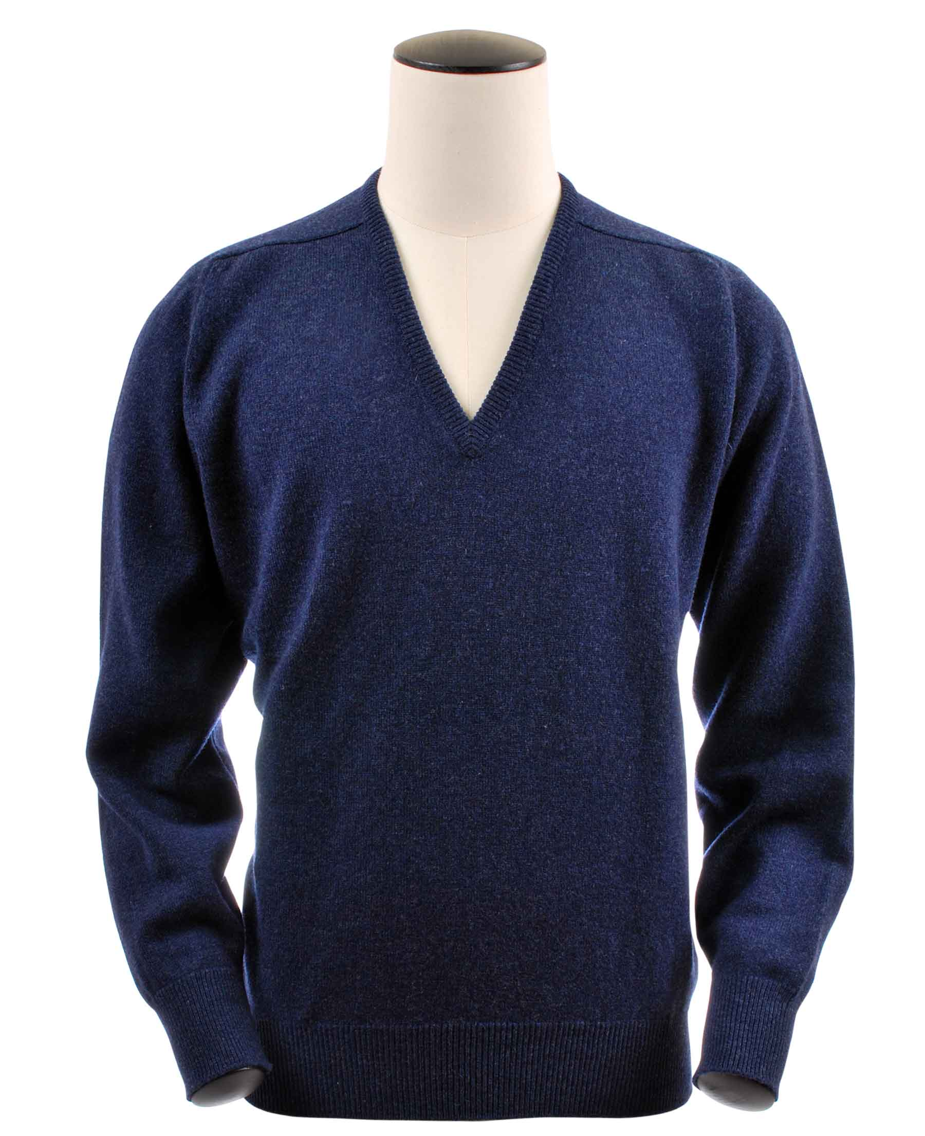 Pull col V, couleur Astra Blue en 100% lambswool,Scott - Vêtements laine geelong