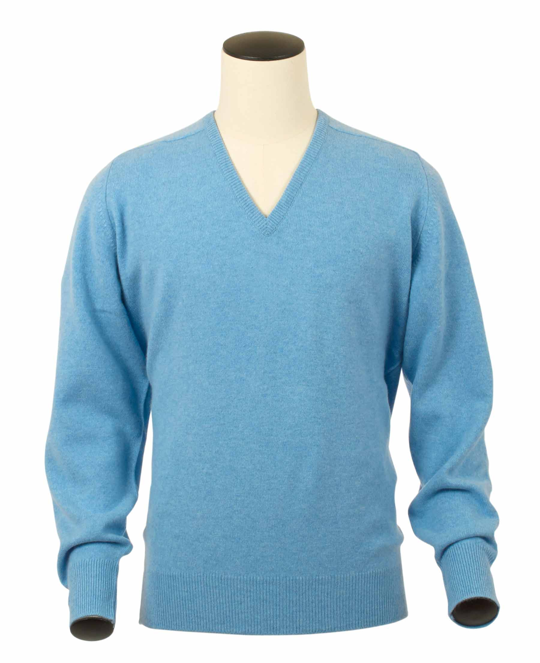 Scott, Couleur Horizon, Pull col V en 100% lambswool - Vêtements laine geelong