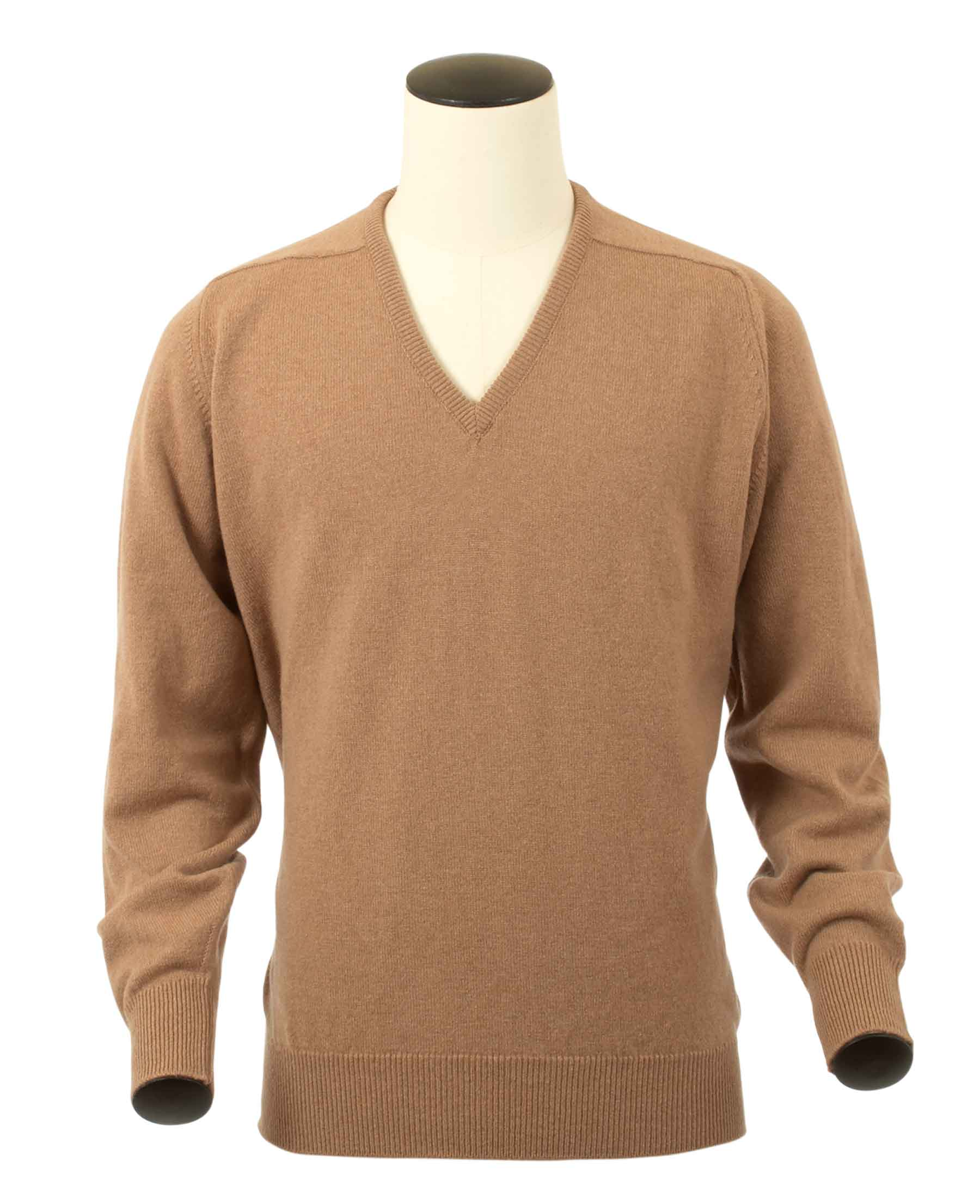 Scott, Couleur Camel, Pull col V en 100% lambswool - Vêtements laine geelong