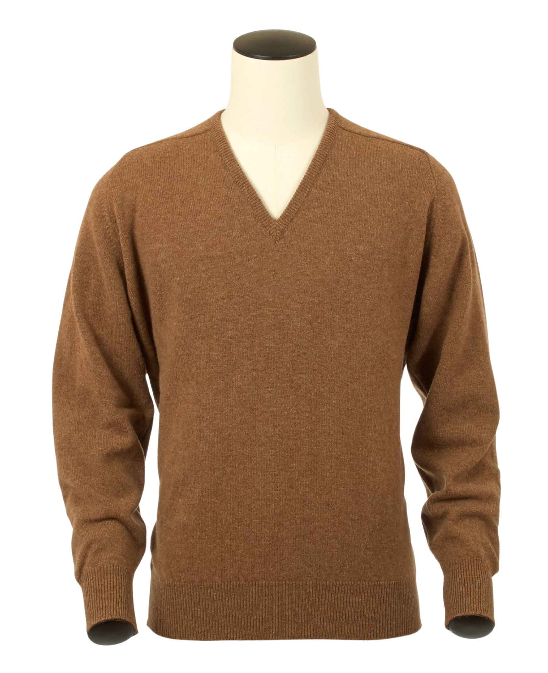 Scott, Couleur Savannah, Pull col V en 100% lambswool - Vêtements laine geelong