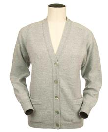 Bridget, Couleur Grey Mix, Gilet col V en 100% lambswool - Vêtements laine geelong