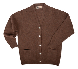 Bridget, Couleur Tobacco, Gilet col V en 100% lambswool - Vêtements laine geelong