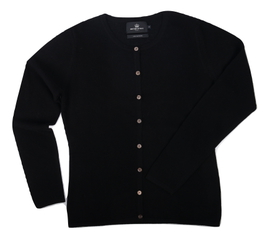 Cardigan cintré Cachemire Black - Vêtements laine geelong