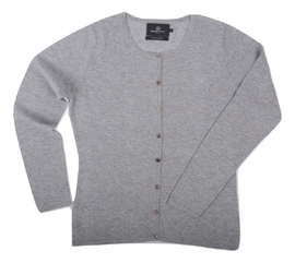 Cardigan cintré Cachemire Grey - Vêtements laine geelong
