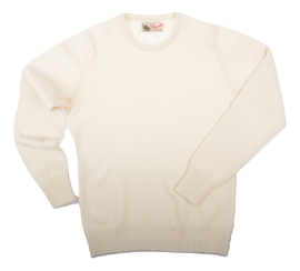 Connie, Couleur White, Pull Ras de cou en 100% lambswool - Vêtements laine geelong