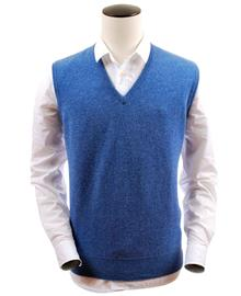 debardeur col-v, couleur clyde-blue en 100% lambswool,Herbert - Vêtements laine geelong