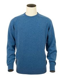 Logan, Couleur Clyde Blue, Pull Ras de cou en 100% lambswool - Vêtements laine geelong