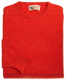 Logan homme lambswool pull ras-de-cou orange inferno 7097 1