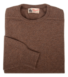 Logan, Couleur Tobacco, Pull Ras de cou en 100% lambswool - Vêtements laine geelong