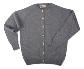 Margaret, Couleur Grey Mix, Cardigan boutons dorés en 100% lambswool - Vêtements laine geelong
