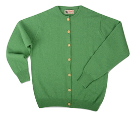 Margaret, Couleur Watercress, Cardigan boutons dorés 100% lambswool - Vêtements laine geelong