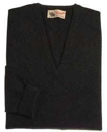 pull col-v, couleur charcoal en 100% geelong,Peter - Vêtements laine geelong