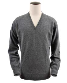 pull col-v, couleur derby-grey en 100% geelong,Peter - Vêtements laine geelong