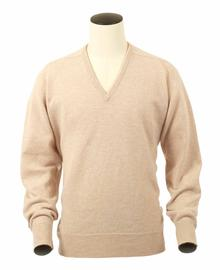 Scott, Couleur Beige, Pull col V en 100% lambswool - Vêtements laine geelong