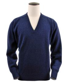Scott, Couleur Astra Blue, Pull col V en 100% lambswool - Vêtements laine geelong