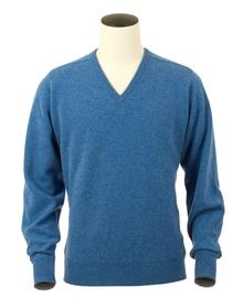 Scott, Couleur Clyde Blue, Pull col V en 100% lambswool - Vêtements laine geelong
