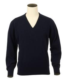 Scott, Couleur Navy, Pull col V en 100% lambswool - Vêtements laine geelong