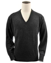 Scott, Couleur Charcoal, Pull col V en 100% lambswool - Vêtements laine geelong