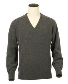 Scott, Couleur Mid Grey, Pull col V en 100% lambswool - Vêtements laine geelong