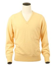 Scott, Couleur Primerose, Pull col V en 100% lambswool - Vêtements laine geelong