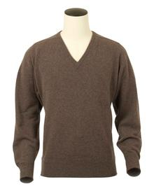Scott, Couleur Bark, Pull col V en 100% lambswool - Vêtements laine geelong