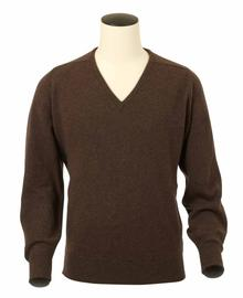 pull col-v, couleur mocha en 100% lambswool,Scott - Vêtements laine geelong