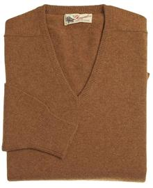 Scott homme lambswool pull col-v marron savannah 7092 1