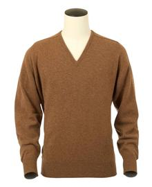 Pull col V, couleur Savannah en 100% lambswool,Scott - Vêtements laine geelong