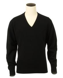 Scott, Couleur Black, Pull col V en 100% lambswool - Vêtements laine geelong