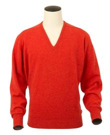 Scott, Couleur Inferno, Pull col V en 100% lambswool - Vêtements laine geelong
