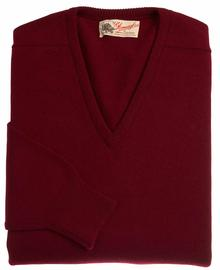 Scott homme lambswool pull col-v rouge bordeau 7092 1