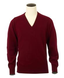 Scott, Couleur Bordeaux, Pull col V en 100% lambswool - Vêtements laine geelong