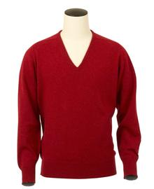 Scott, Couleur Poppy, Pull col V en 100% lambswool - Vêtements laine geelong