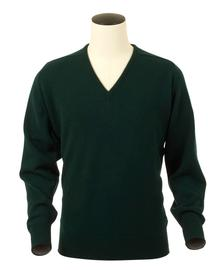 Scott, Couleur Bottle, Pull col V en 100% lambswool - Vêtements laine geelong
