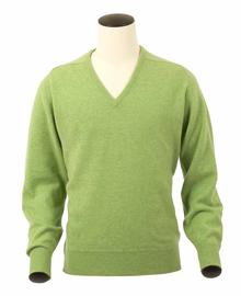 Scott, Couleur Kiwi, Pull col V en 100% lambswool - Vêtements laine geelong