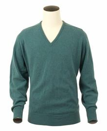 Scott, Couleur Lovat, Pull col V en 100% lambswool - Vêtements laine geelong