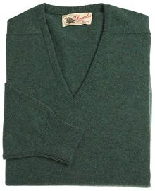 Scott, Couleur Moorland, Pull col V en 100% lambswool - Vêtements laine geelong