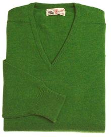 Scott homme lambswool pull col-v vert watercress 7092 1
