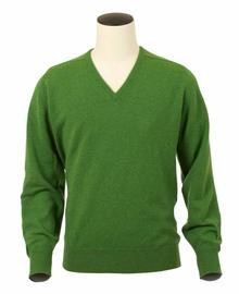 Pull col V, couleur Watercress en 100% lambswool,Scott - Vêtements laine geelong