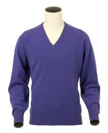 Scott, Couleur Heliotrope, Pull col V en 100% lambswool - Vêtements laine geelong