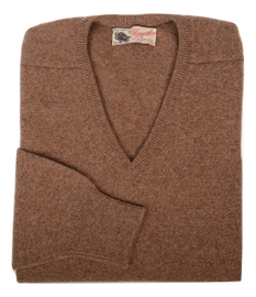 Scott, Couleur Tabby, Pull col V en 100% lambswool - Vêtements laine geelong