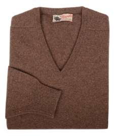 Scott, Couleur Tobacco, Pull col V en 100% lambswool - Vêtements laine geelong