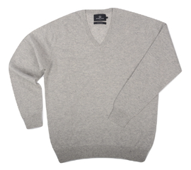 Col V Cachemire Light Grey - Vêtements laine geelong