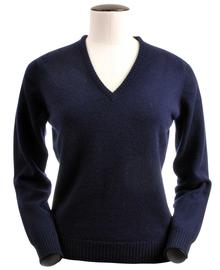 Wendi, Couleur Navy, Pull col V en 100% lambswool - Vêtements laine geelong