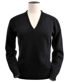 Wendi, Couleur Black, Pull col V en 100% lambswool - Vêtements laine geelong
