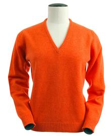 Wendi, Couleur Inferno, Pull col V en 100% lambswool - Vêtements laine geelong