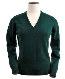 Wendi, Couleur Tartan Green, Pull col V en 100% lambswool - Vêtements laine geelong